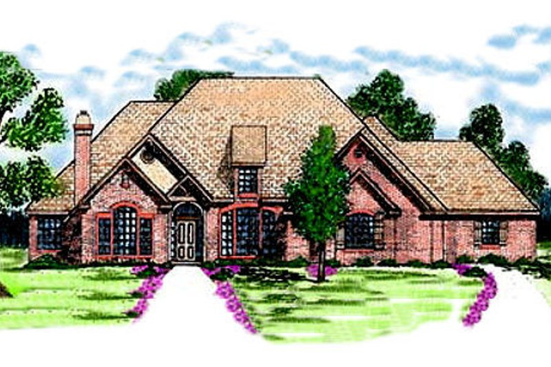 European Style House Plan - 4 Beds 2.5 Baths 2766 Sq/Ft Plan #52-117 Exterior - Front Elevation