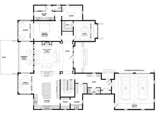 Farmhouse Floor Plan - Main Floor Plan Plan #928-14