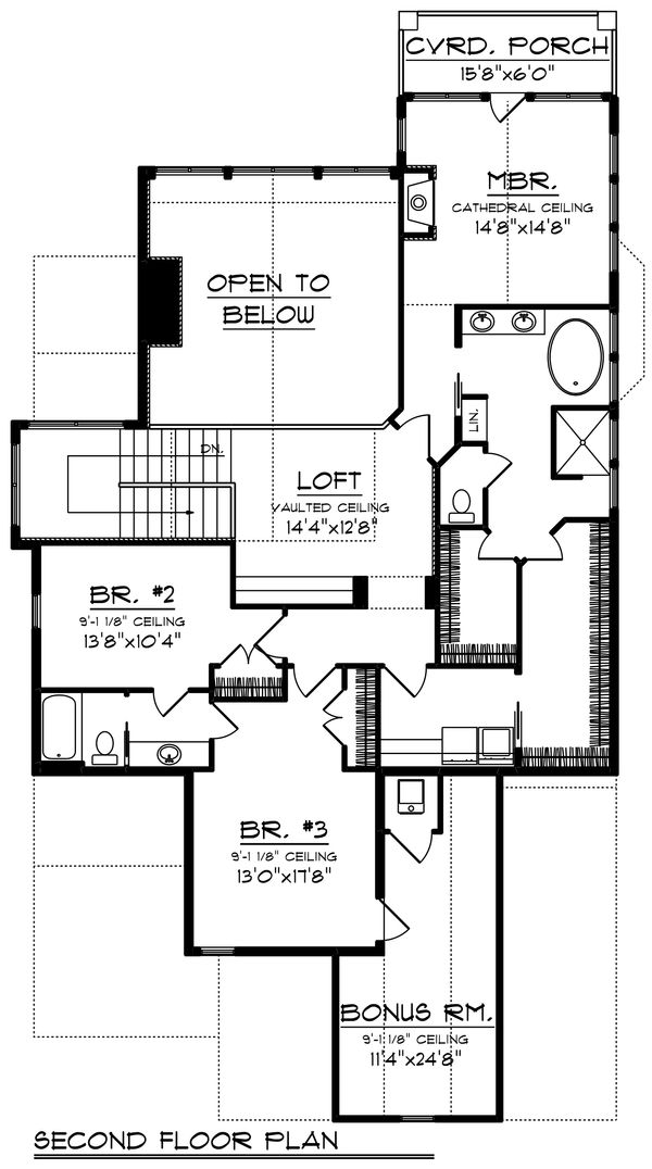 Craftsman Floor Plan - Upper Floor Plan Plan #70-1433