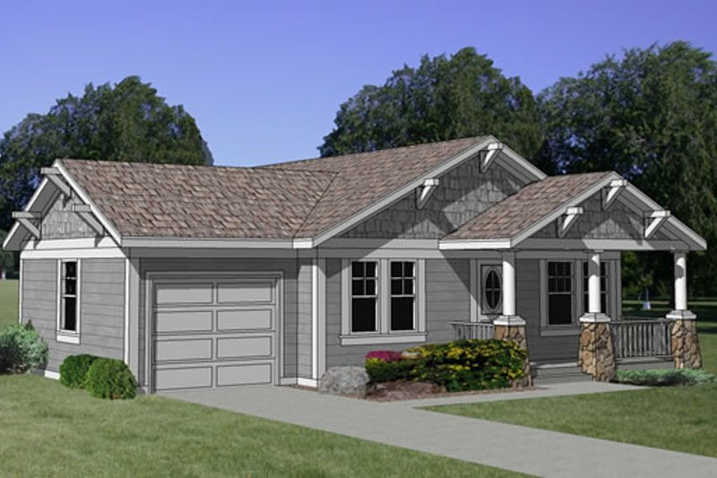 Craftsman Style House Plan - 3 Beds 2 Baths 1064 Sq/Ft Plan #116-163 Exterior - Front Elevation