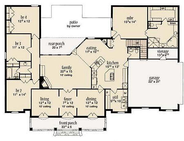 Mediterranean Floor Plan - Main Floor Plan Plan #36-463