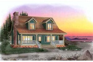 Cottage Exterior - Front Elevation Plan #409-1113