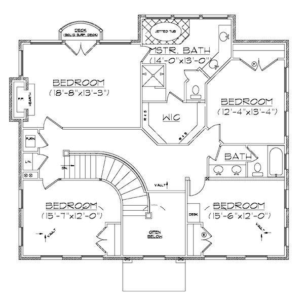 European Floor Plan - Upper Floor Plan Plan #5-373