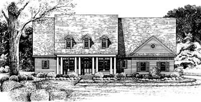 Country Style House Plan - 3 Beds 2.5 Baths 2256 Sq/Ft Plan #20-128 Exterior - Front Elevation
