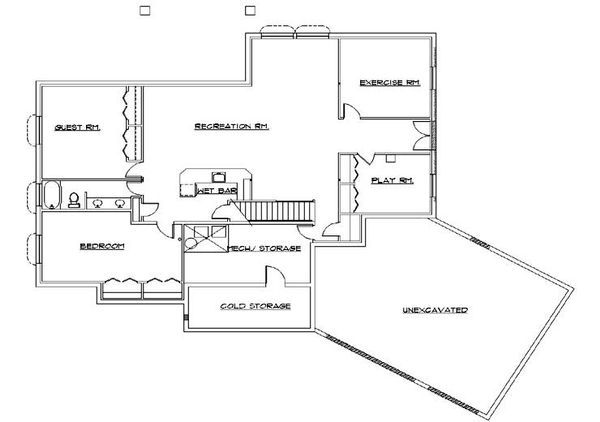 Modern Floor Plan - Lower Floor Plan Plan #5-141