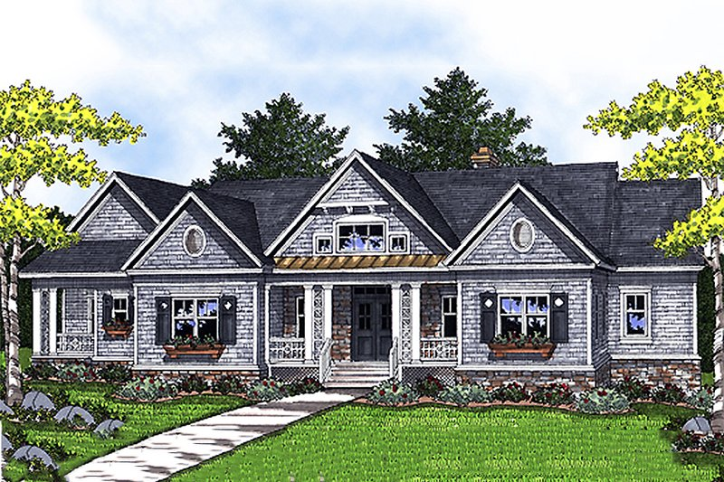 Traditional Style House Plan - 4 Beds 3 Baths 4579 Sq/Ft Plan #70-1157 Exterior - Front Elevation
