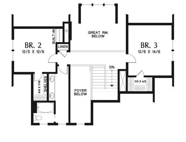 Farmhouse Floor Plan - Upper Floor Plan Plan #48-940