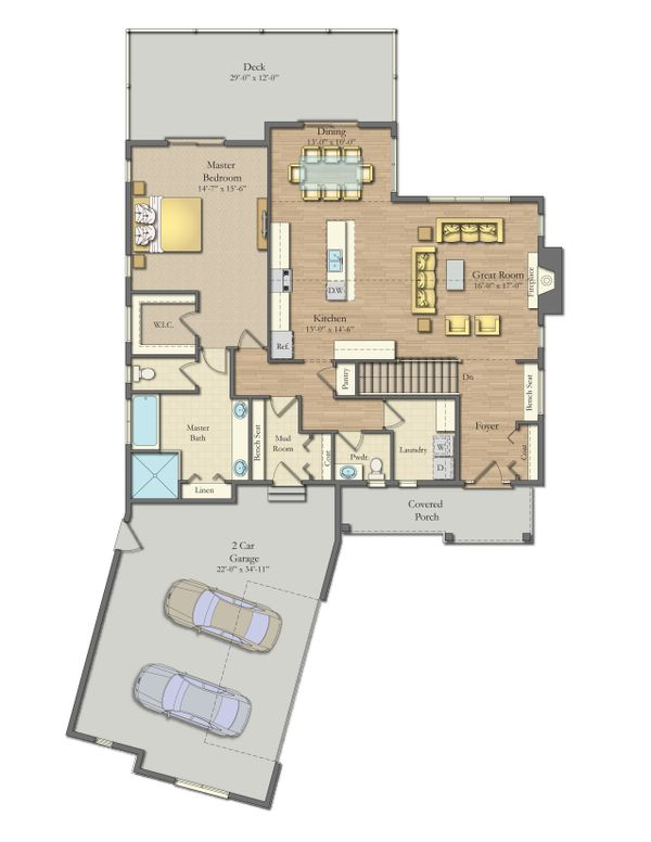 Dream House Plan - Craftsman Floor Plan - Main Floor Plan #1057-21