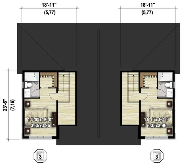 Contemporary Floor Plan - Upper Floor Plan Plan #25-4611