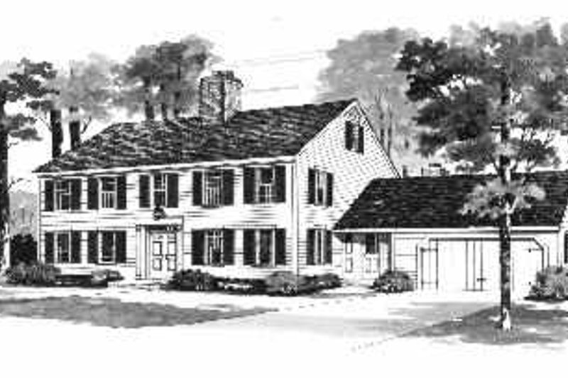 House Blueprint - Colonial Exterior - Front Elevation Plan #72-347