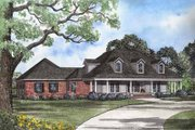 Country Style House Plan - 3 Beds 4 Baths 3670 Sq/Ft Plan #17-579 Exterior - Front Elevation