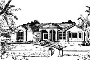 Adobe / Southwestern Exterior - Front Elevation Plan #24-134
