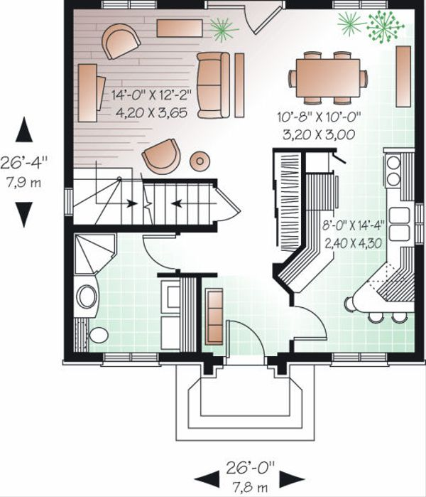 House Plan Design - European Floor Plan - Main Floor Plan #23-732