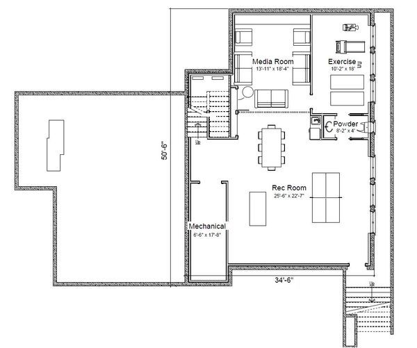 House Plan Design - Traditional Floor Plan - Lower Floor Plan #451-29