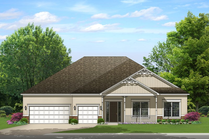 Ranch Exterior - Front Elevation Plan #1058-170
