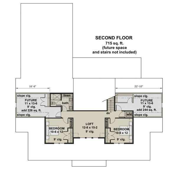 Farmhouse Floor Plan - Upper Floor Plan Plan #51-1149