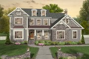 Craftsman Style House Plan - 4 Beds 4 Baths 3021 Sq/Ft Plan #56-642 Exterior - Front Elevation