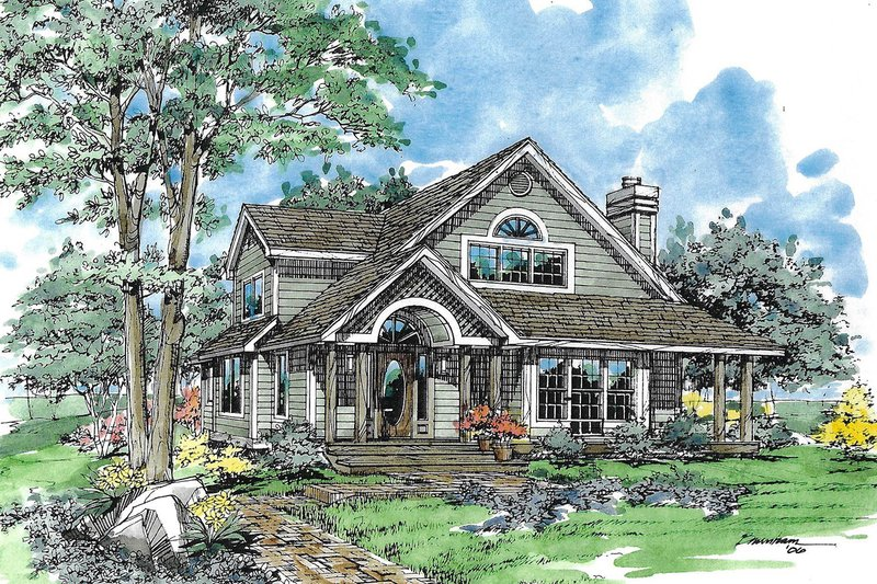 Country Exterior - Front Elevation Plan #970-19