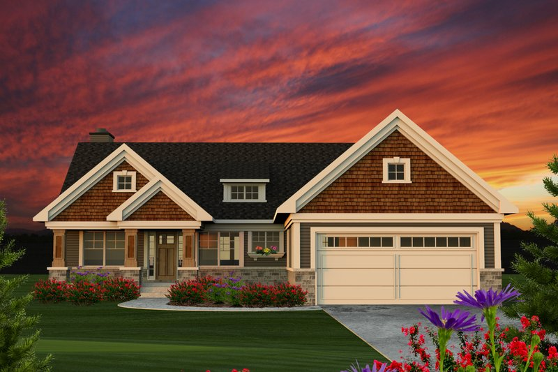 Ranch Exterior - Front Elevation Plan #70-1209