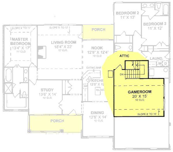 Country Floor Plan - Upper Floor Plan Plan #513-2042