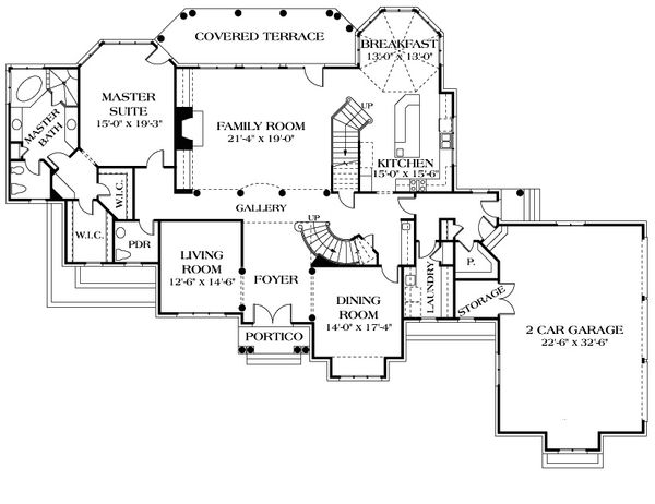 European Floor Plan - Main Floor Plan Plan #453-52
