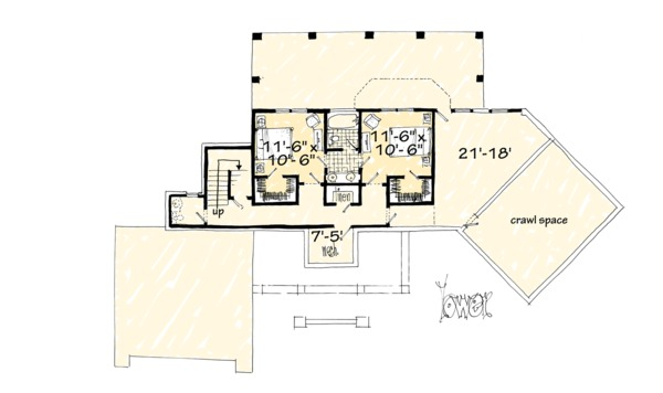 Country Floor Plan - Lower Floor Plan Plan #942-24