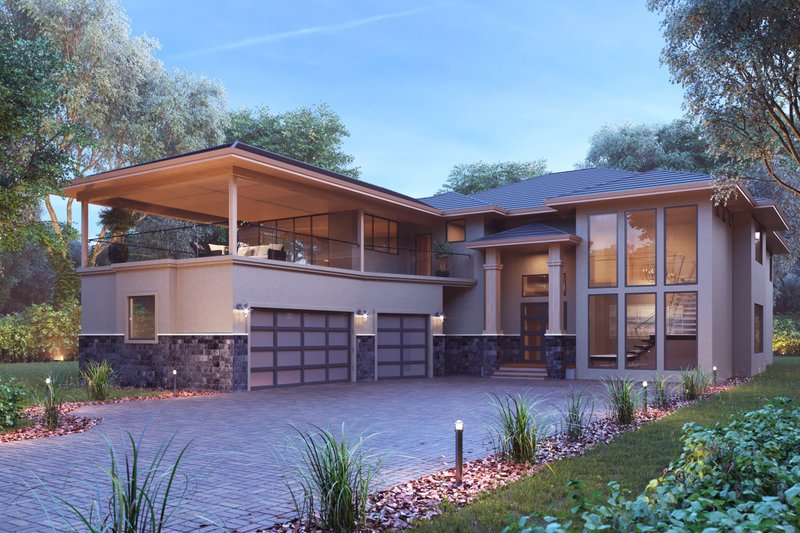 Dream House Plan - Contemporary Exterior - Front Elevation Plan #1066-27