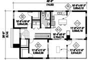 Contemporary Style House Plan - 2 Beds 1 Baths 1016 Sq/Ft Plan #25-4573 Floor Plan - Main Floor Plan
