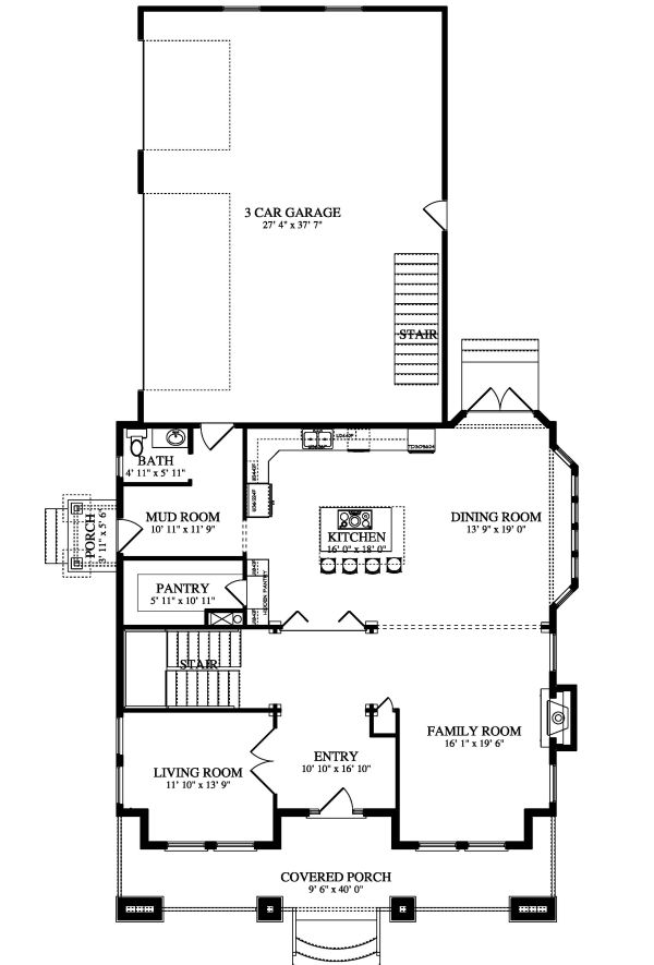 Farmhouse Floor Plan - Main Floor Plan Plan #1060-44