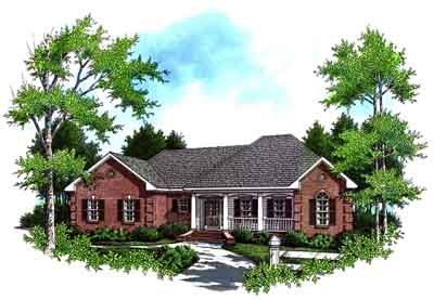Southern Style House Plan - 3 Beds 2 Baths 1751 Sq/Ft Plan #21-123 Exterior - Front Elevation