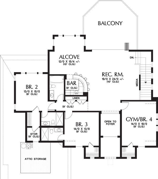 European Floor Plan - Upper Floor Plan Plan #48-650