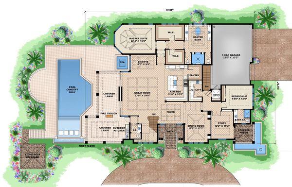 Beach Floor Plan - Main Floor Plan Plan #27-465