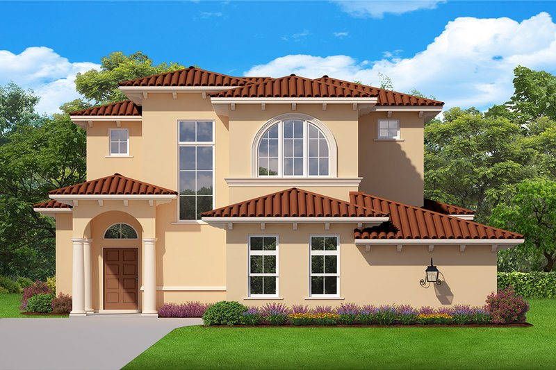 Mediterranean Style House Plan - 4 Beds 4 Baths 2843 Sq/Ft Plan #1058-172 Exterior - Front Elevation