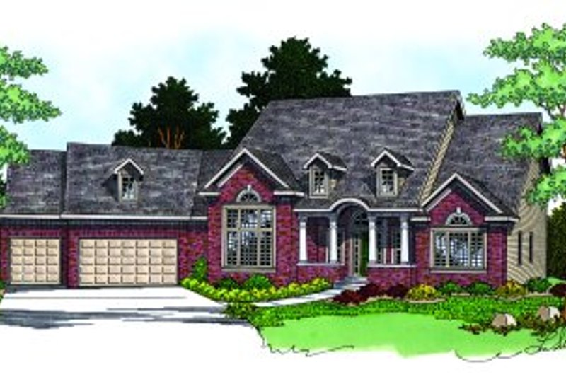 Traditional Style House Plan - 3 Beds 3.5 Baths 3100 Sq/Ft Plan #70-486 Exterior - Front Elevation