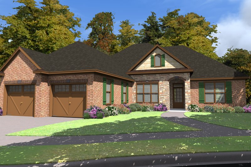 Ranch Style House Plan - 3 Beds 2 Baths 1948 Sq/Ft Plan #63-259 Exterior - Front Elevation