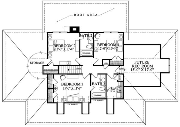 Southern Floor Plan - Upper Floor Plan Plan #137-277