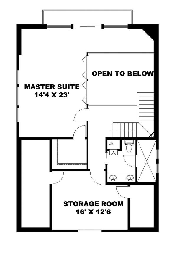 Contemporary Floor Plan - Upper Floor Plan Plan #117-870