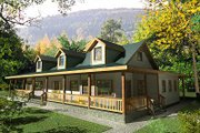 Country Style House Plan - 4 Beds 3.5 Baths 4022 Sq/Ft Plan #117-522 Exterior - Front Elevation