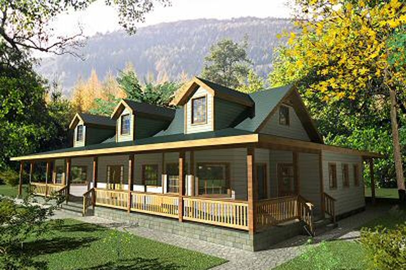 Country Exterior - Front Elevation Plan #117-522 - Houseplans.com
