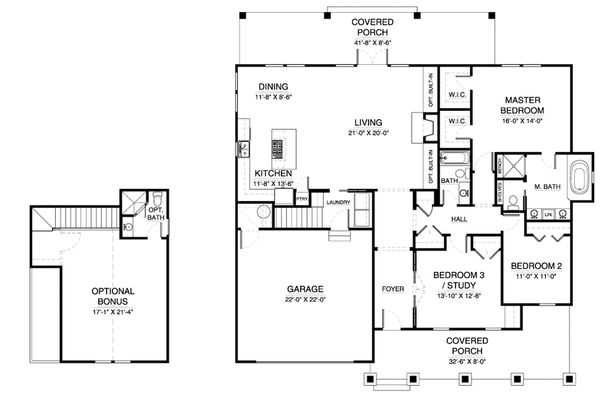 Craftsman Floor Plan - Main Floor Plan Plan #900-5