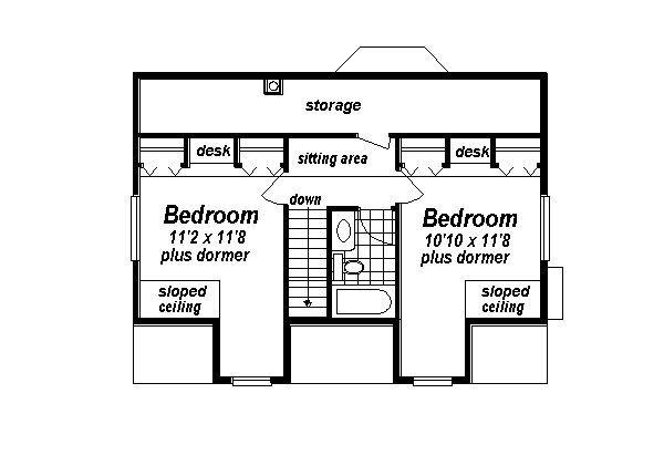 Country Floor Plan - Upper Floor Plan Plan #18-299