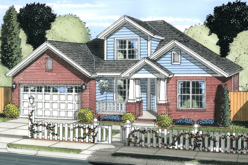 Cottage Exterior - Front Elevation Plan #513-2079