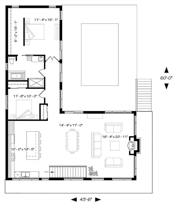 Contemporary Floor Plan - Main Floor Plan Plan #23-2314