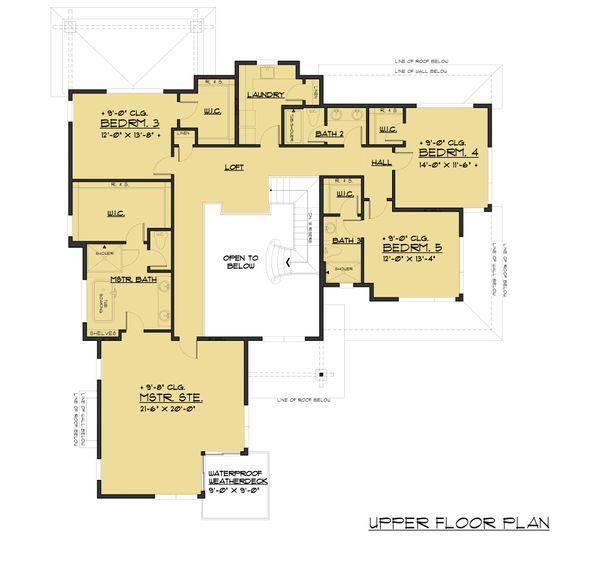 Contemporary Floor Plan - Upper Floor Plan Plan #1066-97
