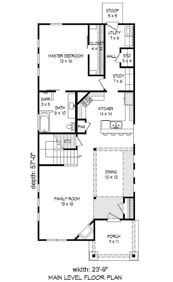 Cabin Floor Plan - Main Floor Plan Plan #932-17