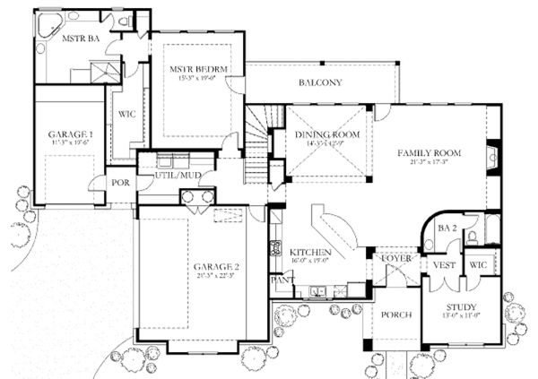 European Floor Plan - Main Floor Plan Plan #80-183