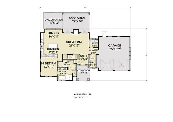 Craftsman Floor Plan - Main Floor Plan Plan #1070-67