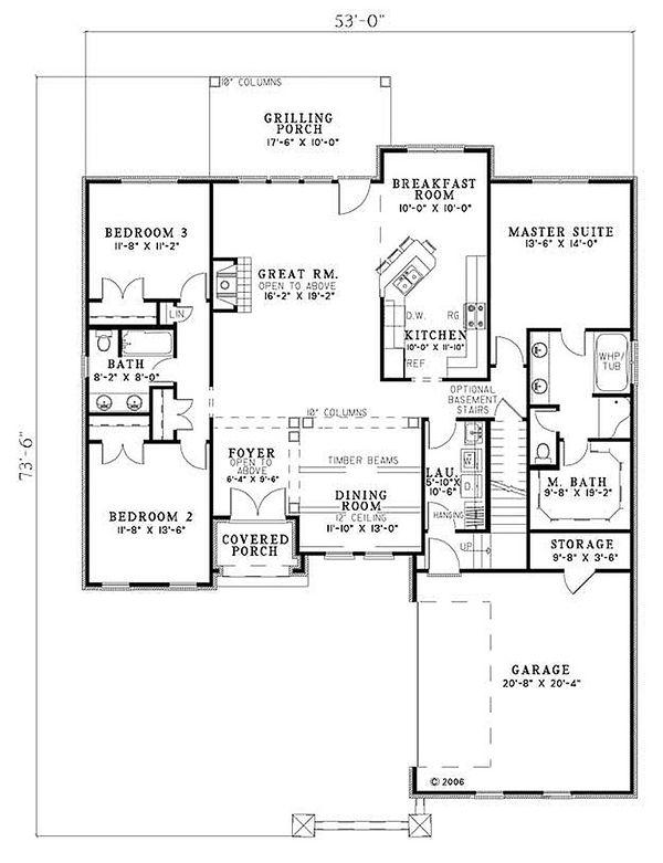 European Floor Plan - Main Floor Plan Plan #17-113