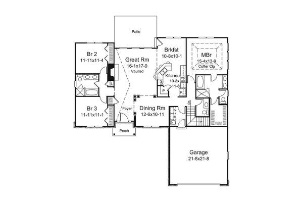Ranch Floor Plan - Main Floor Plan Plan #57-656