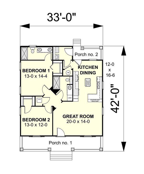 Country Floor Plan - Main Floor Plan Plan #44-188